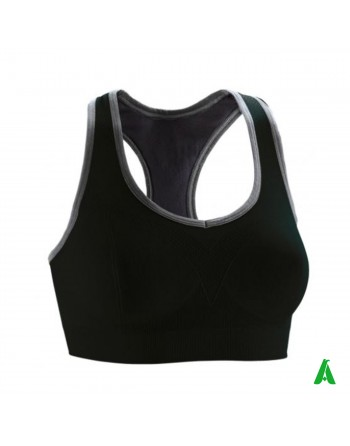 Women's sporty fit top in black, suitable for running, training, customizable with printing or embroidery