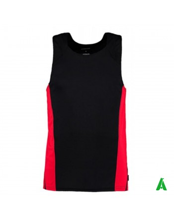 Breathable sports tank top, man in black and red, customizable with print or embroidery.