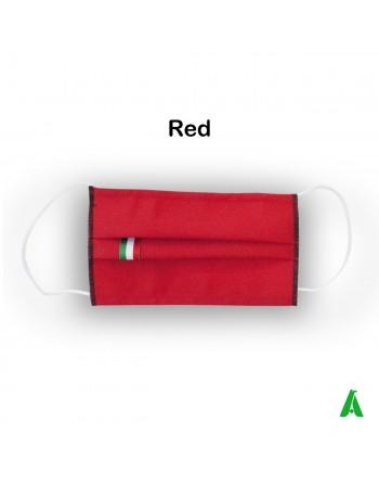 Masque en coton-polyester frais d'été, étiquette tricolore italienne, lavable, réutilisable, personnalisable.