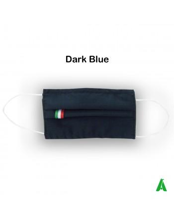 Masque en coton, étiquette tricolore italienne, lavable, réutilisable, personnalisable.