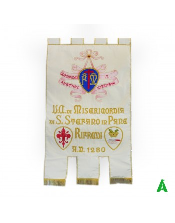 Liturgical banner/gonfalon with embroidery decorations, 3 tails at bottom and holy print.