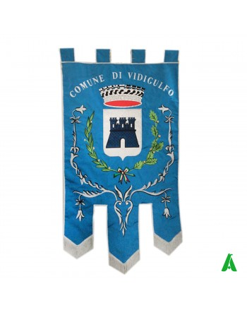 Embroidered Gonfalon/Banner for Institutions with full decorations, with gold fringe and trimmings, floral decorations.