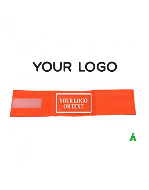 Fluorescent-high visibility armband with custom hot-transfer logo and adjustable velcro closure