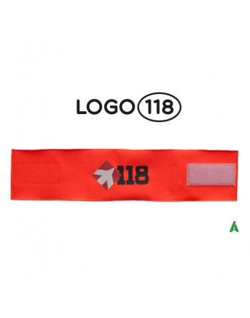 Rescue arm band 118, on fluorescent orange fabric adjustable with velcro for each size.