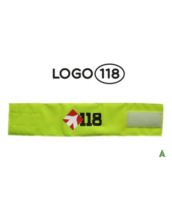 Rescue arm band 118, on fluorescent yellow fabric adjustable with velcro for each size.
