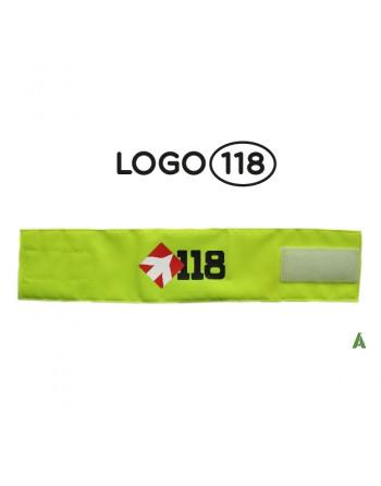 Brassard de sauvetage 118, sur tissu jaune fluo réglable avec velcro pour chaque taille.