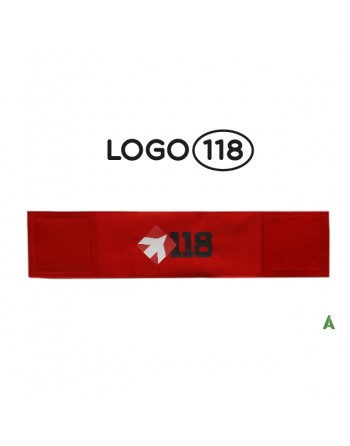 Brassard de sauvetage 118, sur tissu rouge fluo réglable avec velcro pour chaque taille.