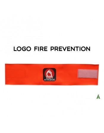 Brassard pour pompiers, sur tissu orange fluo réglable avec velcro pour chaque taille.
