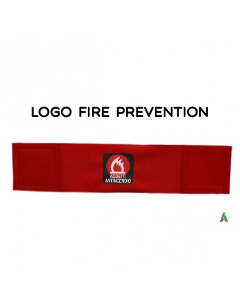 Armband for firefighters, on fluorescent red fabric adjustable with velcro for each size.