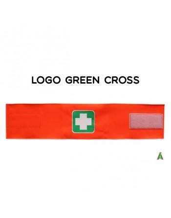 Brassard croisé vert sur tissu orange fluo réglable avec velcro pour chaque taille.