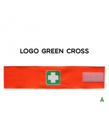 Grünes Kreuzarmband auf fluoreszierendem orangefarbenem Stoff, mit Klettverschluss für jede Größe verstellbar.