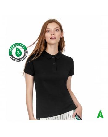 T-shirt polo éco-durable en coton bio pour femme, couleur noire, personnalisable avec impression ou broderie