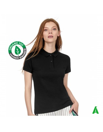 Eco-sustainable polo t-shirt in organic cotton for women, black color, customizable with print or embroidery