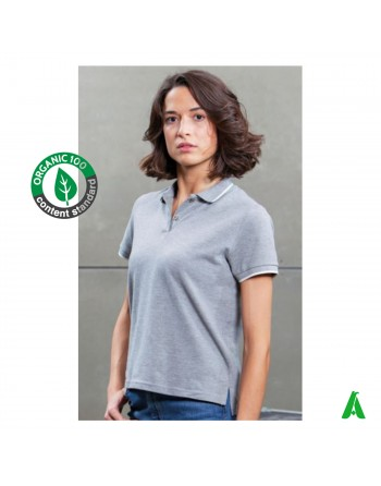 Eco-sustainable polo t-shirt in organic cotton for women, customizable with print or embroidery