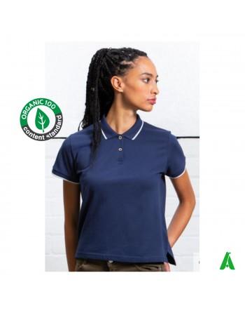 T-shirt polo éco-durable en coton bio pour femme, personnalisable avec impression ou broderie