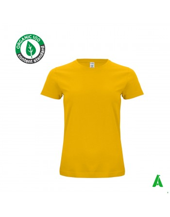 Eco-sustainable organic cotton t-shirt, woman, customizable with print or embroidery