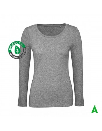 Organic cotton women's long sleeve jersey with embroidery print tourism clothing associations