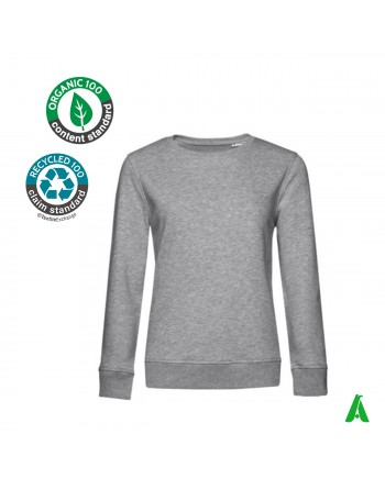 Eco-friendly organic cotton women's sweatshirt with embroidery print clothing tourism sports associations