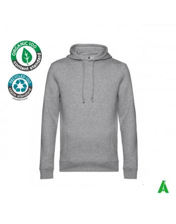Sweat à capuche éco-responsable en coton biologique avec broderie imprimée Tourisme Associations de vêtements de sport