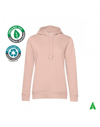 Women's organic cotton hooded sweatshirt, customizable with print or embroidery