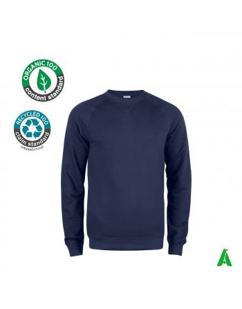 Bio-Baumwoll-Sweatshirt mit Rundhalsausschnitt für Männer und Frauen, anpassbar mit Stickerei