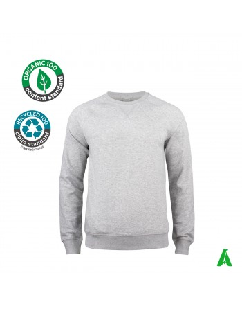 Organic cotton crewneck sweatshirt for men and women customizable with embroidery