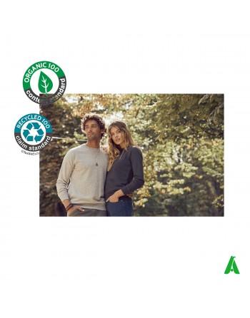 Sweat col rond en coton bio pour homme et femme personnalisable avec broderie