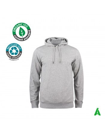 Hooded sweatshirt in organic cotton customizable with print or embroidery