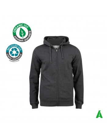 Hooded sweatshirt in organic cotton for men and women, customizable with embroidery