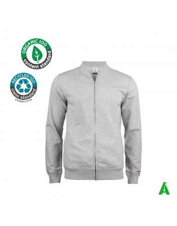 Sweatshirt with divisible zip in organic cotton customizable with embroidery