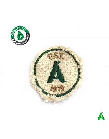 Destroyed patch in 100% organic organic cotton fabric, eco friendly and eco-sustainable, customized with logo