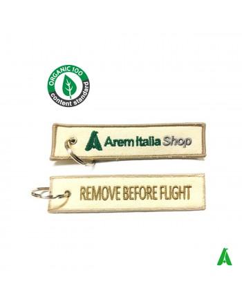 Porte-clés en coton organique personnalisables avec logo ou écriture, front et derrière.