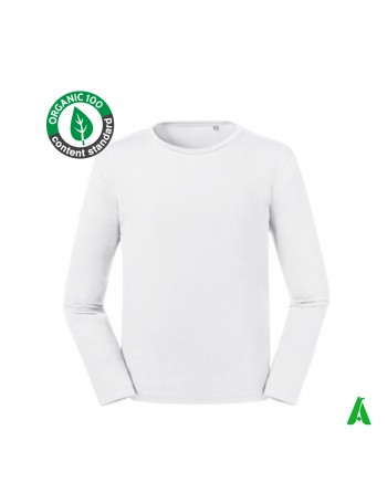 Organic cotton men's long sleeve shirt with embroidery print clothing tourism wellness associations