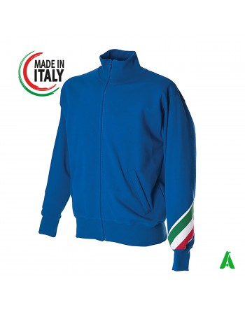 Made in Italy royal blue sweatshirt customizable with your logo / writing with printing or embroidery up to 9 colors