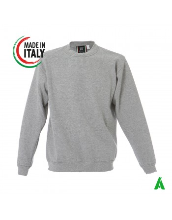 Gray sweatshirt made in Italy customizable with your logo / writing with printing or embroidery up to 9 colors