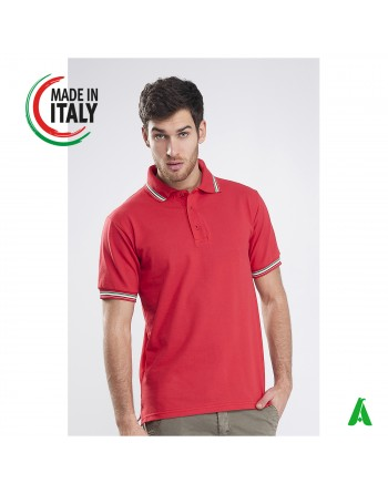 Made in Italy men's polo shirt with custom embroidery tricolor flag