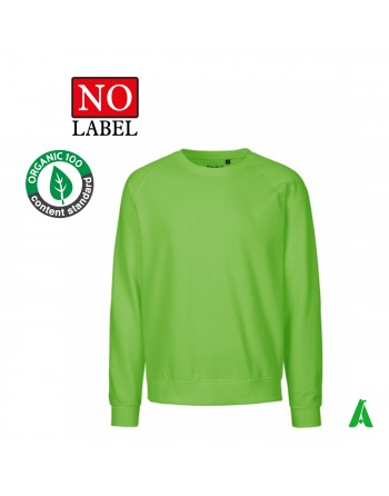 NO Label 100% organic cotton sweatshirt customizable with embroidery or printing of my logo