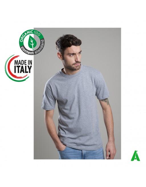 T-shirt en coton biologique fabriqué en Italie personnalisable avec impression ou broderie jusqu'à 9 couleurs