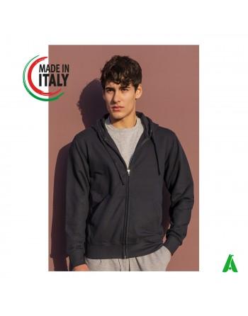 Sweat à capuche fabriqué en Italie personnalisable avec votre logo / écriture avec impression ou broderie jusqu'à 9 couleurs