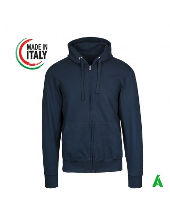 Made in Italy hooded sweatshirt customizable with your logo / writing with printing or embroidery up to 9 colors