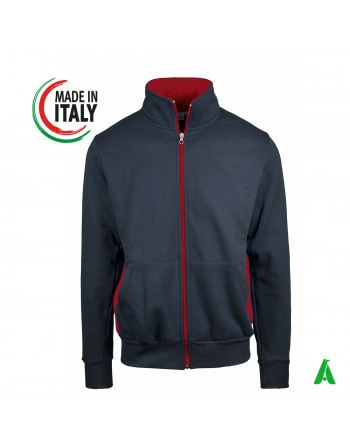 Made in Italy sweatshirt with hood and zip that can be customized with your logo / embroidery lettering