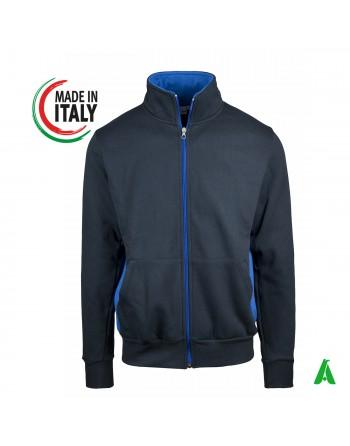 Sweat-shirt fabriqué en Italie avec capuche et zip personnalisable avec votre logo / lettrage brodé