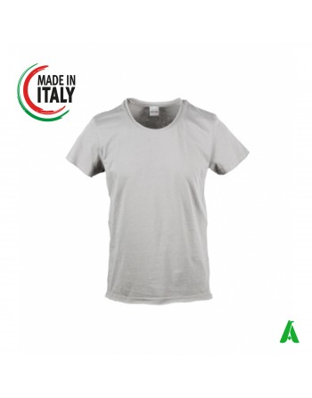 Made in Italy men's t-shirt with raw cut customizable with embroidery of your own logo IT660