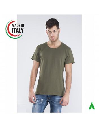 T-shirt pour homme fabriqué en Italie avec coupe brute personnalisable avec broderie de votre propre logo IT660