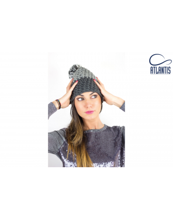 Soft knitted winter beanie, italian styled, inner fleece band, colour grey-grey, available neutral or with bespoke sew on patch.
