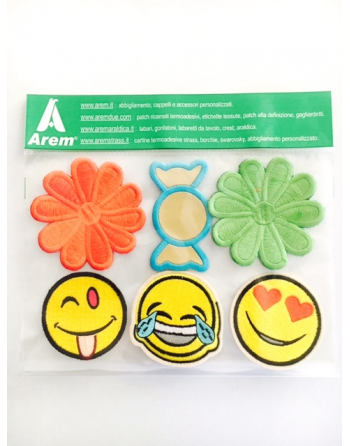 EMOTICON Facebook SMILE PATCHES for fashion clothing, ready tio sew on and iron on textile.