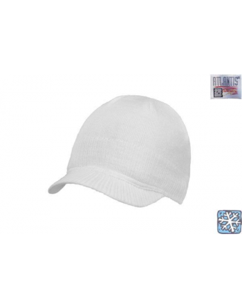 Mini visor beanie colour white for winter, on sale for sport, promotions and free time.