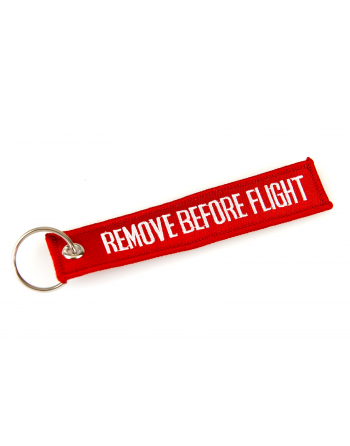 Embroidered Keychain Remove Before Flight colour red