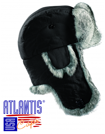 Aviator cap  colour black, with internal futter in ecological fur - Art. EcopolarThermolite.