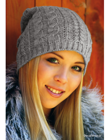 Fashion knitted beanie for women, colour grey, fashionable for autumn and winter, on sale.